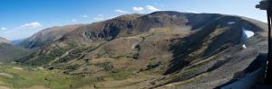Fall River Cirque, 3/4 mile wide by 1/2 mile deep. The cirque was cut by the Fall River Glacier.