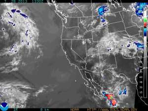You can see the center of the low pressure system as a lack of clouds in Chihuahua Mexico. This system spun up into the Front Range of Colorado, where it dropped over half an inch of rain.